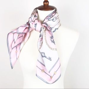 Square Lock and Key Silk Scarf in Pink and Gray